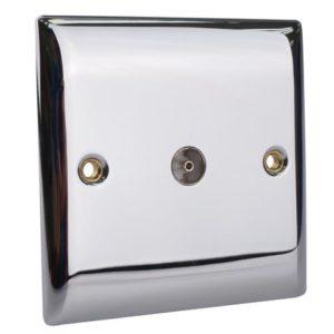 Coaxial TV Socket 1-Gang Chrome