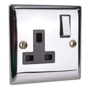 Switched Socket 1-Gang 13A Chrome