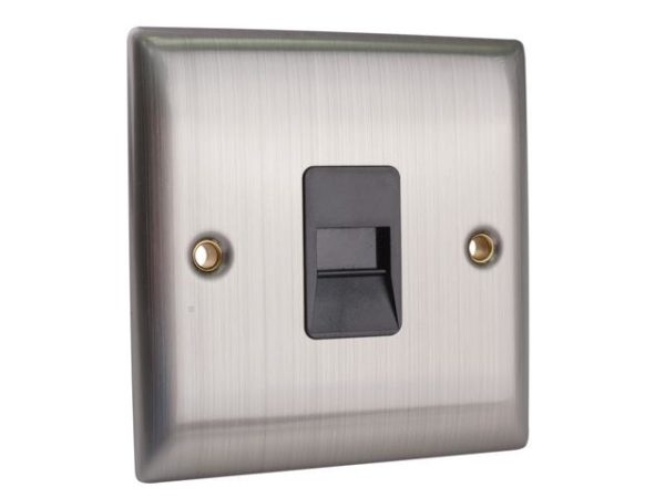 Secondary Telephone Outlet Brushed Steel