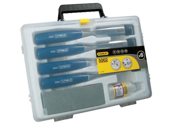 5002 Bevel Edge Chisel Set of 4: 6 12 18 & 25mm & Oilstone