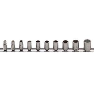 Bi-Hexagon Socket Set of 10 with Clip Strip AF 1/4in Drive
