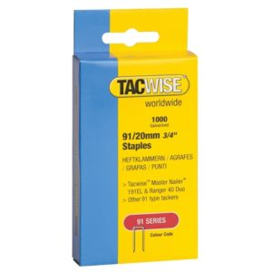 91 Narrow Crown Staples 20mm - Electric Tackers Pack 1000