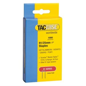 91 Narrow Crown Staples 25mm - Electric Tackers Pack 1000