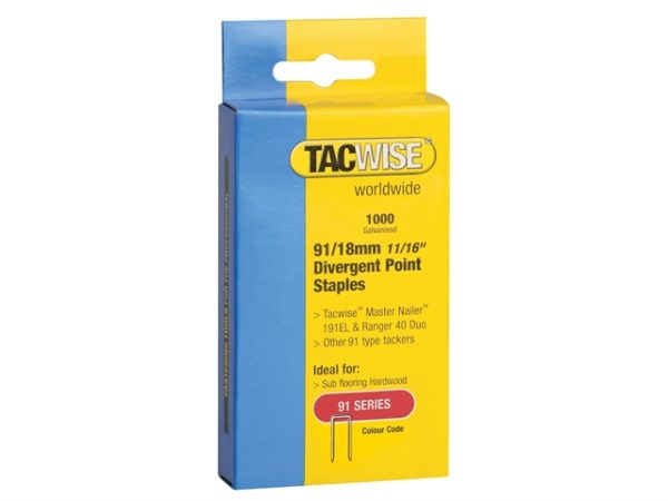 91 Narrow Crown Divergent Point Staples 18mm - Electric Tackers Pack 1000