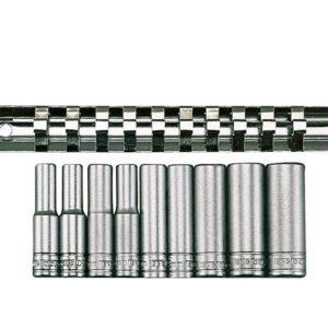 M1407 Deep Socket Clip Rail Set of 10 Metric 1/4in Drive