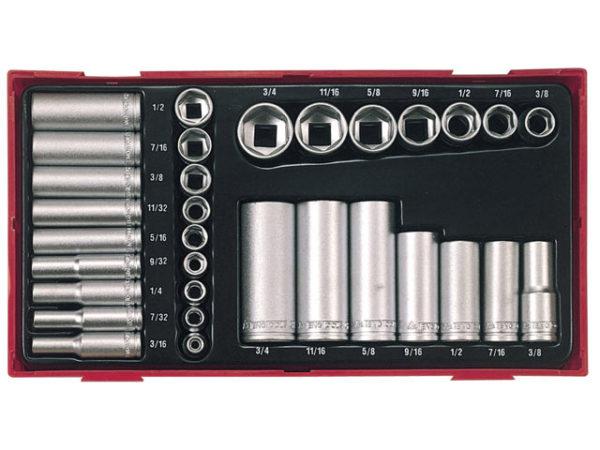 TTAF32 32 Piece Reg/ Deep Socket Set 1/4-3/8in Drive