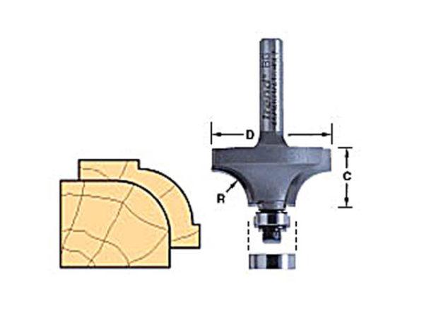 46/150 x 1/2 TCT Bearing Guided Ovolo & Round Over 12.7mm Radius