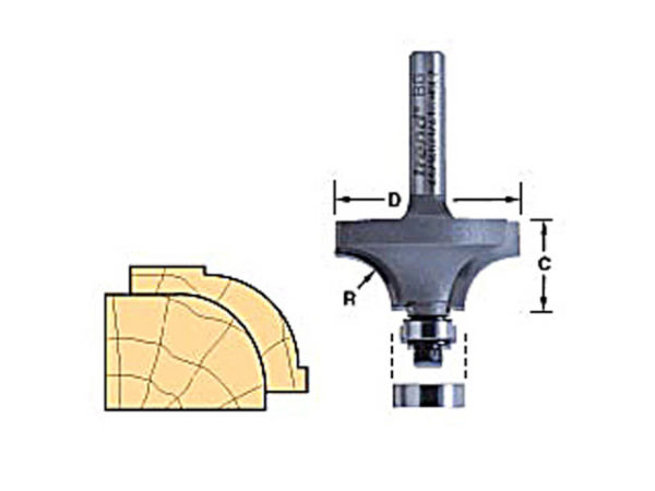 46/160 x 1/2 TCT Bearing Guided Ovolo & Round Over 16mm Radius