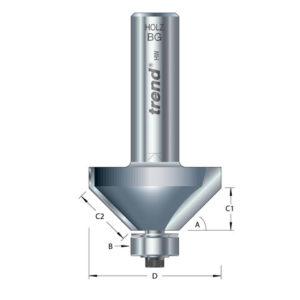 46/38 x 1/2 TCT Bearing Guided Chamfer 45° 50 x 19mm