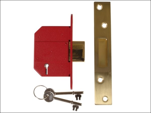 StrongBOLT 2100S BS 5 Lever Mortice Deadlock 68mm 2.5in Satin Brass Box