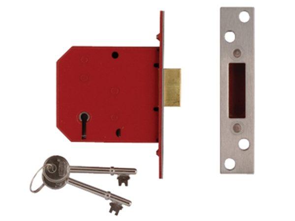 2101 5 Lever Mortice Deadlock Satin Brass Finish 77.5mm 3in Box