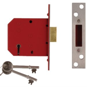 2101 5 Lever Mortice Deadlock Satin Brass Finish 65mm 2.5in Visi