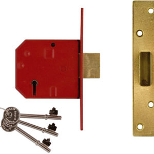 2134E 5 Lever BS Mortice Deadlock Satin Brass Finish 67mm 2.5in Visi