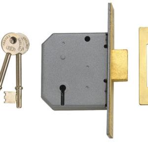 2177 3 Lever Mortice Deadlock Polished Brass 77.5mm 3in Visi