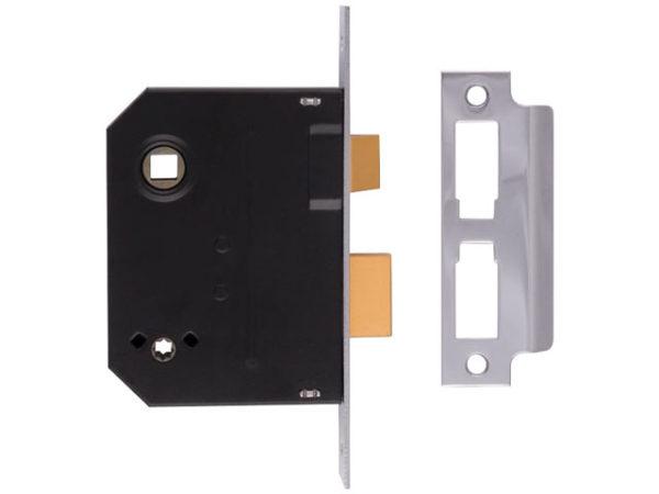 2294 Mortice Bathroom Lock Chrome Finish 63mm 2.5in Visi