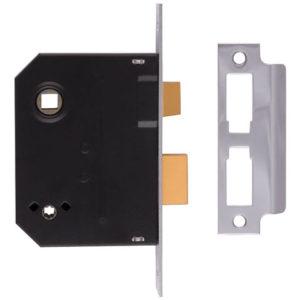 2294 Mortice Bathroom Lock Polished Brass 63mm 2.5in Visi