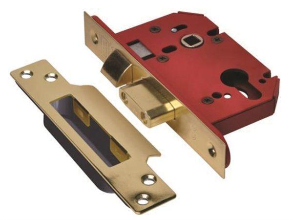 StrongBOLT 22EU EUS-PB-2.5 Euro Sashlock Plated Brass 68mm 2.5in