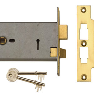 2077-6 3 Lever Horizontal Mortice Lock Polished Brass 149mm