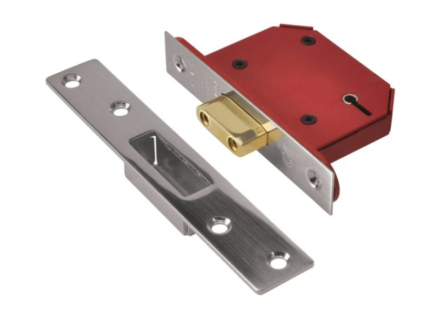 StrongBOLT 2105S Stainless Steel 5 Lever Mortice Deadlock Visi 81mm 3in