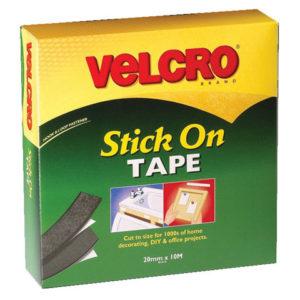 VELCRO® Brand Stick On Tape 20mm x 10m Black