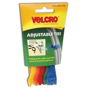 VELCRO® Brand ONE-WRAP® Reusable Ties (5) 12mm x 20cm Multi-Colour