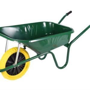 90L Green Builders Wheelbarrow - Puncture Proof