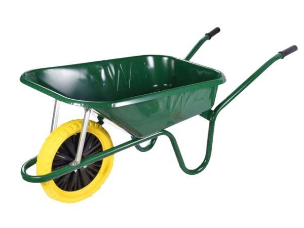 90L Green Builders Wheelbarrow - Puncture Proof