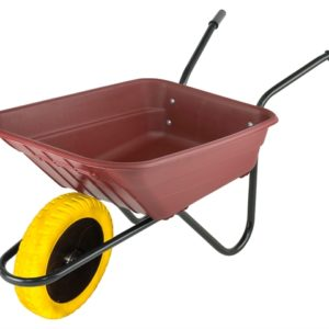 Boxed 90L Burgundy Polypropylene Wheelbarrow - Puncture Proof