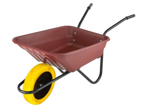Boxed 90L Burgundy Polypropylene Wheelbarrow - Puncture Proof