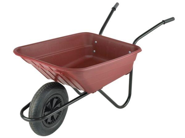Boxed 90L Burgundy Polypropylene Wheelbarrow