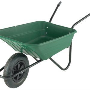 Boxed 90L Green Polypropylene Wheelbarrow