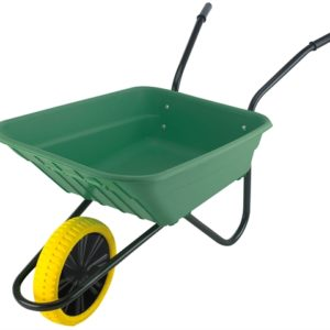 Boxed 90L Green Polypropylene Wheelbarrow - Puncture Proof