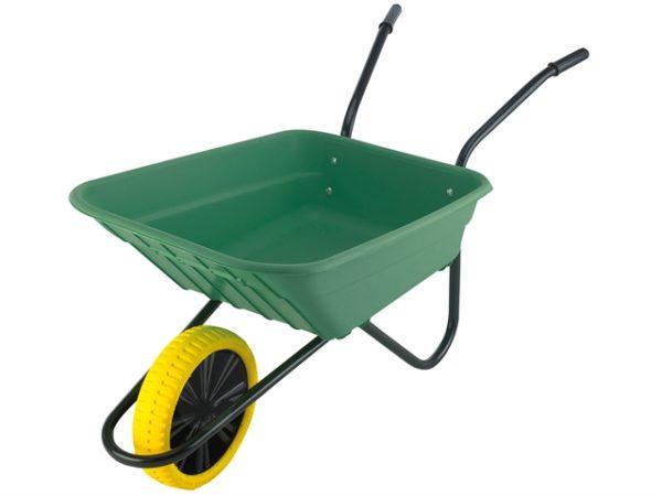 Boxed 90L Green Polypropylene Wheelbarrow - Puncture Proof