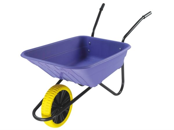 Boxed 90L Lilac Polypropylene Wheelbarrow - Puncture Proof
