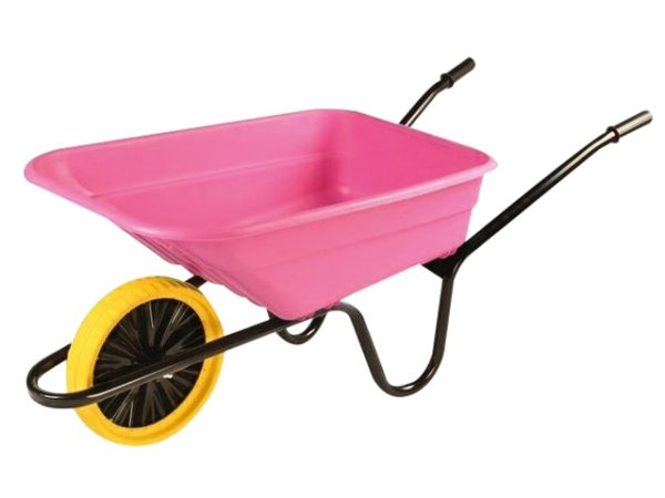 Boxed 90L Pink Polypropylene Wheelbarrow - Puncture Proof