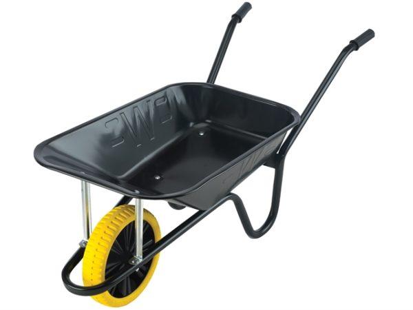 85L Contractor Black Heavy-Duty Builders Wheelbarrow - Puncture Proof