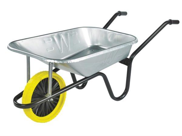 85L Galvanised Heavy-Duty Builders Wheelbarrow - Puncture Proof
