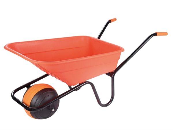 90L Orange Polypropylene Wheelbarrow - Duraball