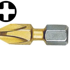 Phillips No.1pt Titanium Coated Screwdriver Bits 25mm (Card of 2)