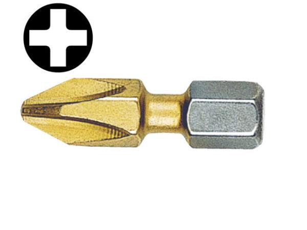 Phillips No.3pt Titanium Coated Screwdriver Bits 25mm (Card of 2)