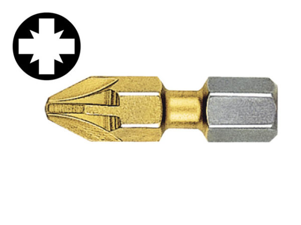 Pozidriv 1pt Titanium Coated Screwdriver Bits 25mm (Card of 2)