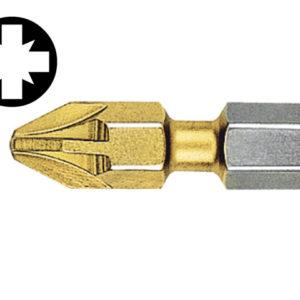 Pozidriv 1pt Titanium Coated Bits (Strip of 10) 25mm