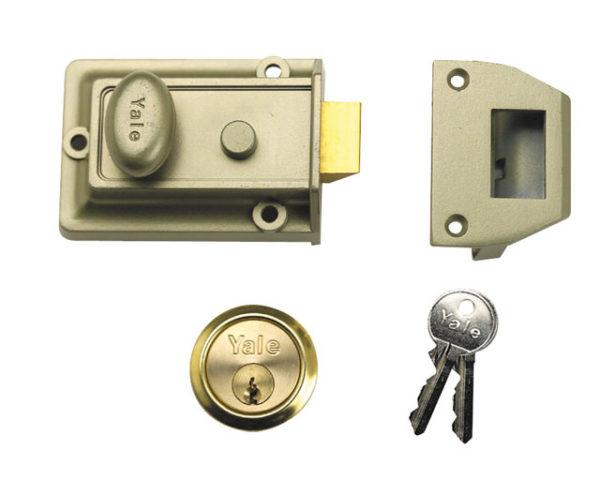 P77 Traditional Nightlatch 60mm Backset Nickel Brass Finish SC Cylinder Box