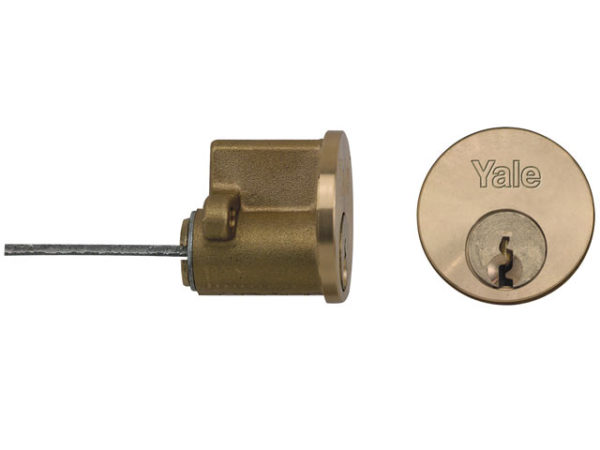 P1109 Replacement Rim Cylinder & 6 Keys Polished Brass Finish Visi