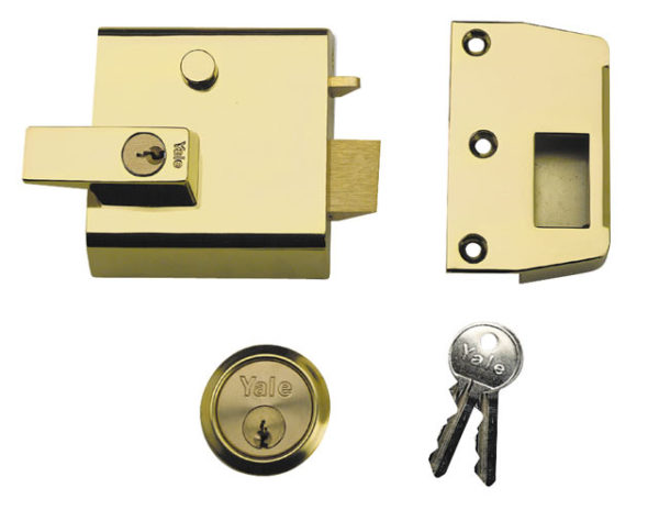 P1 Double Security Nightlatch 60mm Backset Brasslux Finish Visi