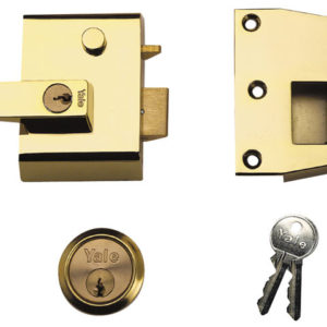 P2 Double Security Nightlatch 40mm Backset Brasslux Finish Visi