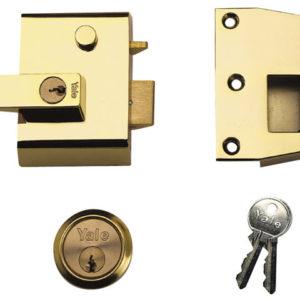 P2 Double Security Nightlatch 40mm Backset Brasslux Finish Visi