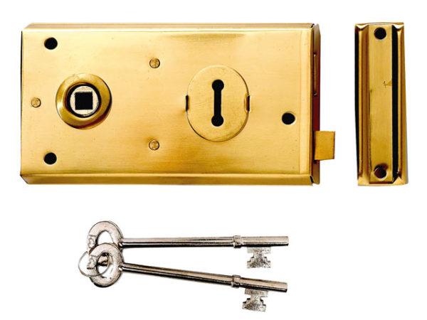 P401 Rim Lock Black Finish 138 x 76mm Visi