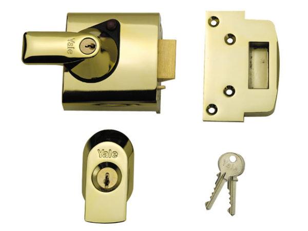 BS1 Nightlatch British Standard Lock 60mm Backset Brasslux Finish Visi