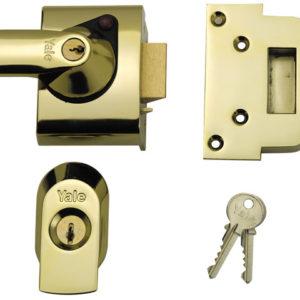 BS2 Nightlatch British Standard Lock 40mm Backset Brasslux Finish Visi
